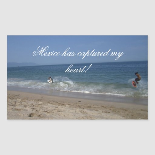 Skimboarders in the Surf; Mexico Souvenir Rectangular Sticker