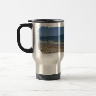 Skimboarders in the Surf Travel Mug