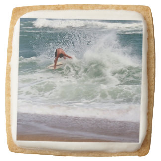 Skimboarding by Shirley Taylor Square Shortbread Cookie