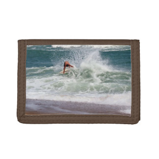 Skimboarding by Shirley Taylor Tri-fold Wallet