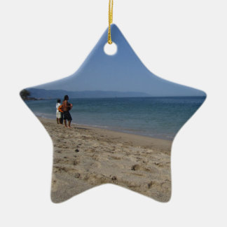 Skimmers Waiting for a Wave Double-Sided Star Ceramic Christmas Ornament
