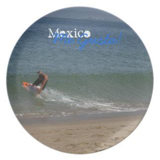 Skimming the Surf; Mexico Souvenir Melamine Plate