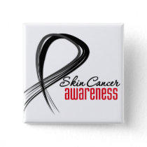 Skin Cancer Awareness Grunge Ribbon Pinback Button