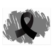 Skin Cancer Black Ribbon With Scribble Postcard