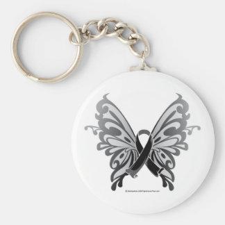 Skin Cancer Butterfly Ribbon Basic Round Button Keychain