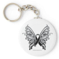 Skin Cancer Butterfly Ribbon Keychain