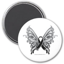 Skin Cancer Butterfly Ribbon Magnet