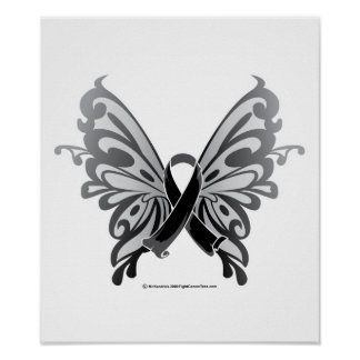 Skin Cancer Butterfly Ribbon Print