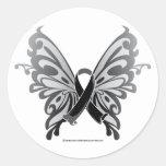 Skin Cancer Butterfly Ribbon Round Sticker