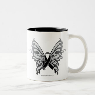 Skin Cancer Butterfly Ribbon Two-Tone Coffee Mug