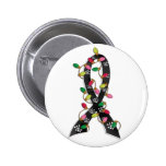 Skin Cancer Christmas Lights Ribbon 2 Inch Round Button