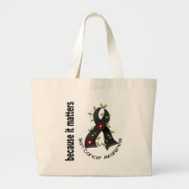 Skin Cancer Flower Ribbon 3 Large Tote Bag