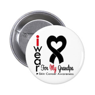 Skin Cancer Heart Ribbon For My Grandpa Pinback Button