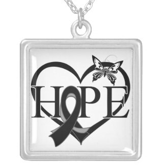 Skin Cancer Hope Butterfly Heart Décor Square Pendant Necklace