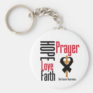 Skin Cancer Hope Love Faith Prayer Cross Keychain