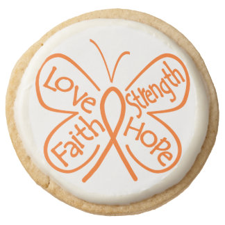 Skin Cancer Love Strength Faith and Hope Round Premium Shortbread Cookie