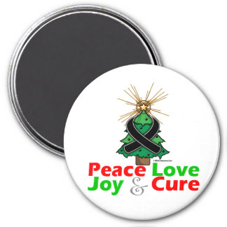 Skin Cancer Peace Love Joy Cure 3 Inch Round Magnet