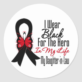 Skin Cancer Ribbon Hero My Daughter-in-Law Classic Round Sticker