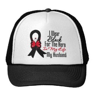 Skin Cancer Ribbon Hero My Husband Trucker Hat