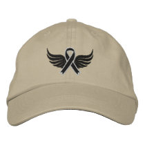Skin Cancer Ribbon Wings Embroidered Baseball Hat