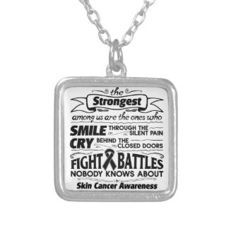 Skin Cancer Strongest Among Us Square Pendant Necklace