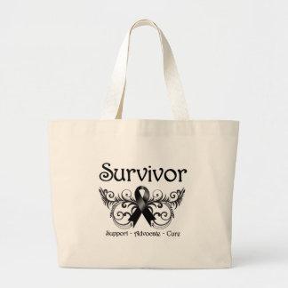 Skin Cancer Survivor Floral Deco Large Tote Bag
