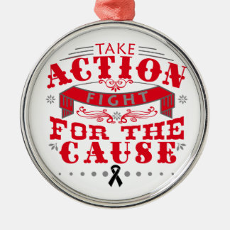 Skin Cancer Take Action Fight For The Cause Round Metal Christmas Ornament