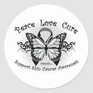 Skin Cancer Tribal Butterfly Classic Round Sticker