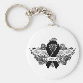 Skin Cancer Winged SURVIVOR Ribbon Keychain