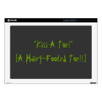 "skin funny quirky geek kiss toe gag quote decals for 17"" laptops"