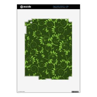 Skin  with  green decorative  leafs skin for iPad 2