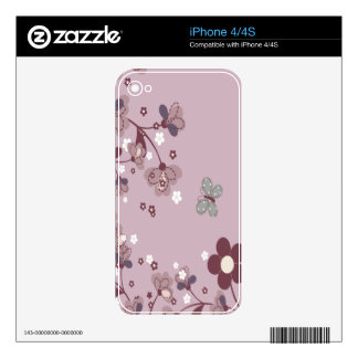Skin With Natural Pink Flowers iphone 4/4S Decals iPhone 4 Skins