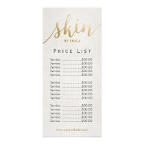 Skincare Salon Spa Esthetician Elegant Price List Rack Card