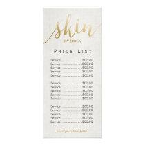 Skincare Salon Spa Esthetician Elegant Price List Rack Card