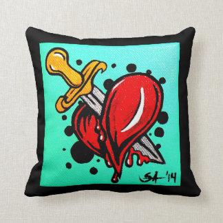 "Skinderella's ""Heartache"" throw pillow"