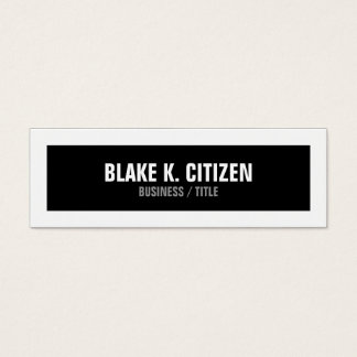 Skinny Black and White Big Border business card