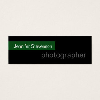 Skinny Black Green Trend Photography Business Card