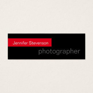 Skinny Black Red Trendy Photography Business Card