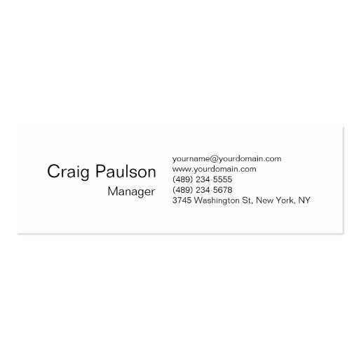 Skinny Black White Attractive Business Card