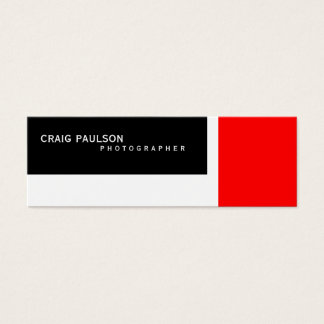 Skinny Black White Red Photography Business Card