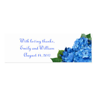 Skinny Blue Hydrangea Wedding Favor Tags Double-Sided Mini Business Cards (Pack Of 20)