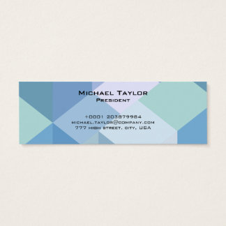 Skinny Blue Polygonal Modern - Business Card