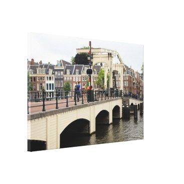Beach Themed Skinny Bridge, Amsterdam, Holland Canvas Print