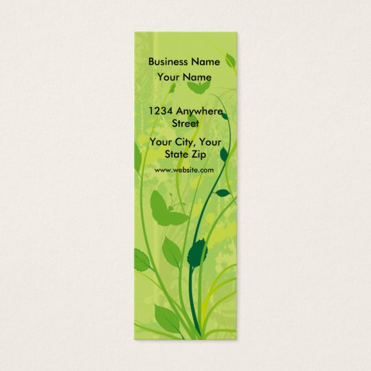 Skinny Business Card Green Butterfly Floral