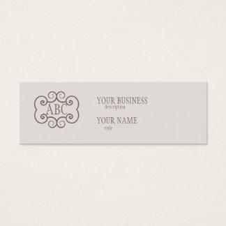 Skinny Business Card Std Paper Champagne Monogram