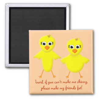 Skinny Chick - Fat Chick Cute Funny Cartoon 2 Inch Square Magnet