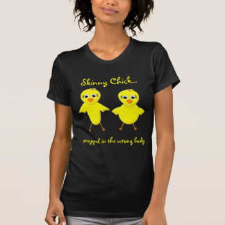 Skinny Chick - Fat Chick Cute Funny Cartoon T-Shirt