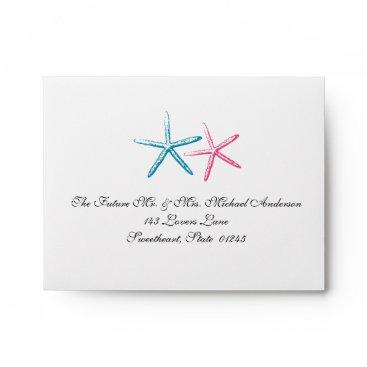 Beach Themed Skinny Finger Starfish RSVP Envelope