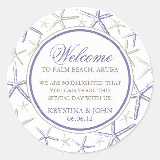Skinny Finger Starfish Wedding Welcome Classic Round Sticker