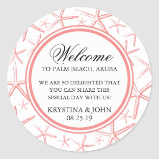 Skinny Finger Starfish Wedding Welcome Stickers